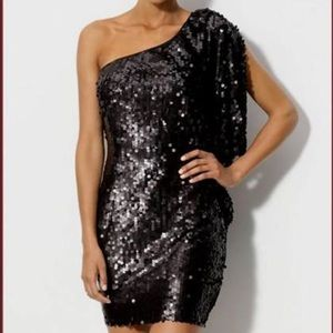 Aidan Mattox one shoulder black sequin dress sz 4
